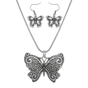 Worn Silver Butterfly Pendant Necklace Earring Set